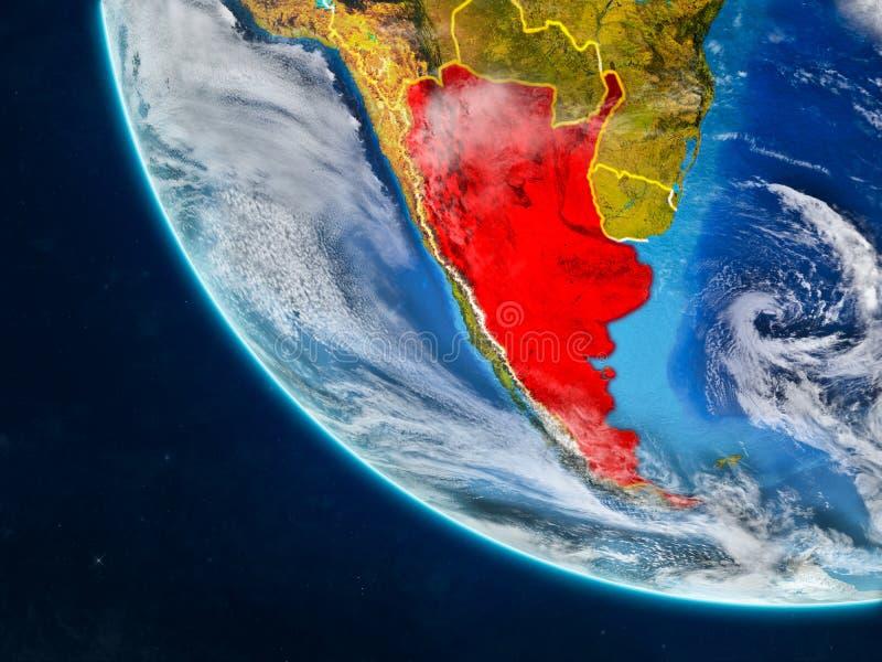 从空间的阿根廷地球上 库存例证