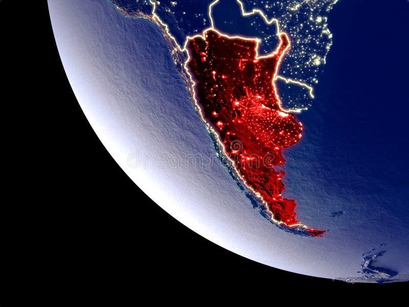 从空间的阿根廷地球上 皇族释放例证
