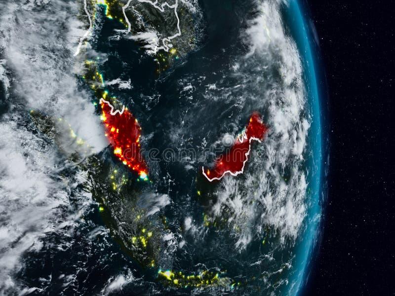 从空间的马来西亚在晚上 库存例证