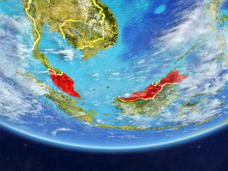 从空间的马来西亚地球上 库存例证