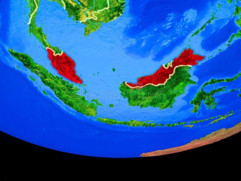 从空间的马来西亚地球上 向量例证