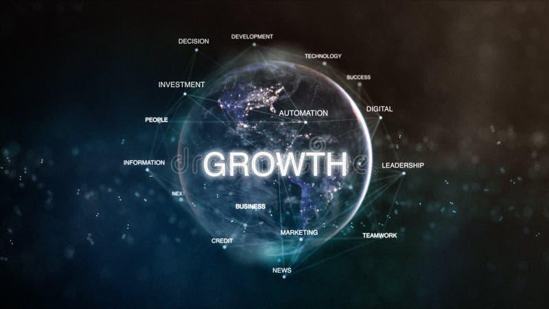 从空间词的技术地球在焦点设置了与成长 未来派财政针对的词云彩3D例证 皇族释放例证