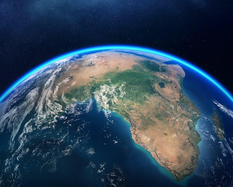 从空间非洲视图的地球 免版税图库摄影
