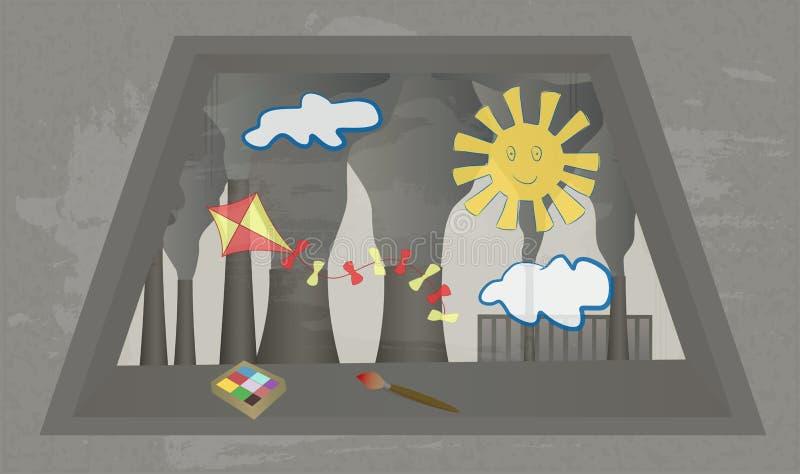从窗口的看法在植物抽烟的烟囱有儿童` s图画的在玻璃 皇族释放例证