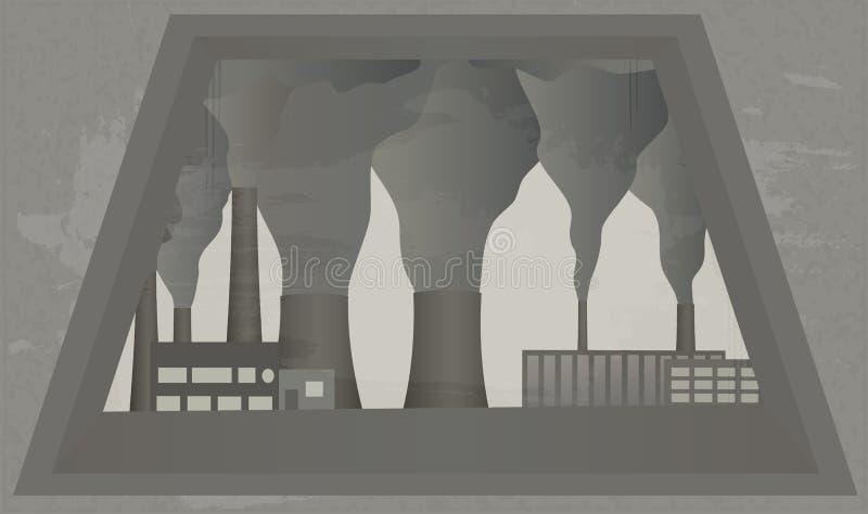 从窗口的看法在植物抽烟的烟囱  皇族释放例证