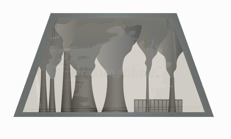 从窗口的看法在植物抽烟的烟囱  库存例证