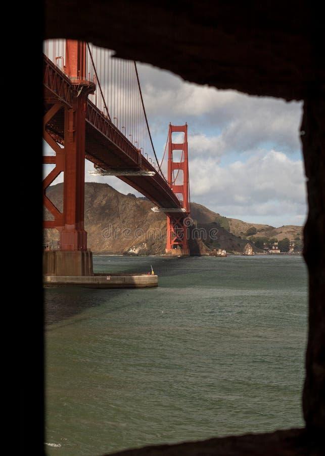 从窗口的金门海峡桥梁 免版税库存照片