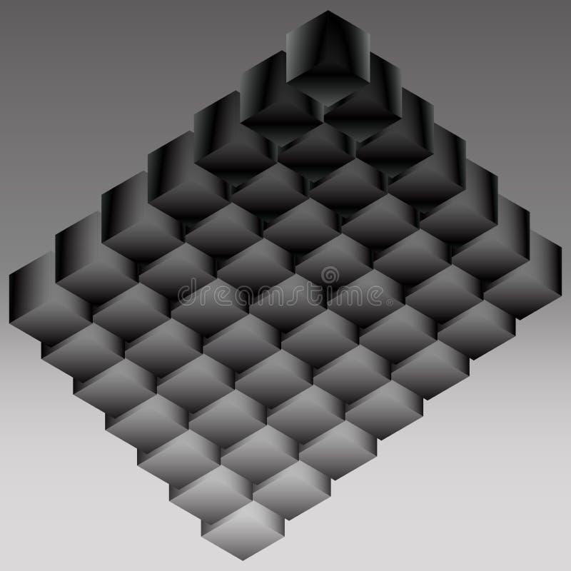 从立方结构的黑暗的商标 库存例证