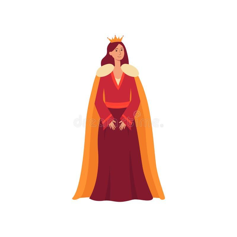 从童话当中的一位年轻中世纪女王/王后在礼服、皇家披风和一个金黄冠站立 库存例证