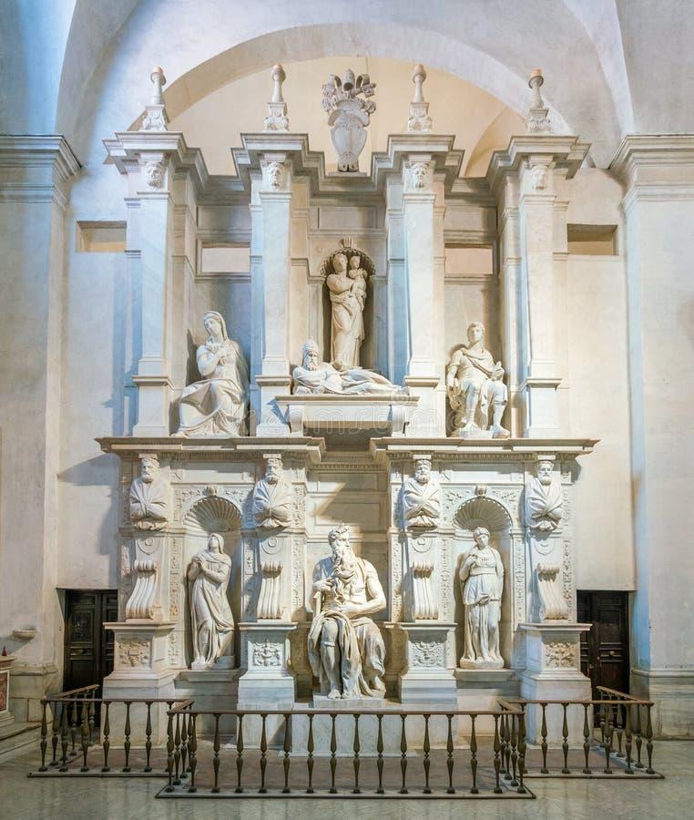 从米开朗基罗的摩西,在圣彼得罗教会里在Vincoli在罗马,意大利 免版税库存图片
