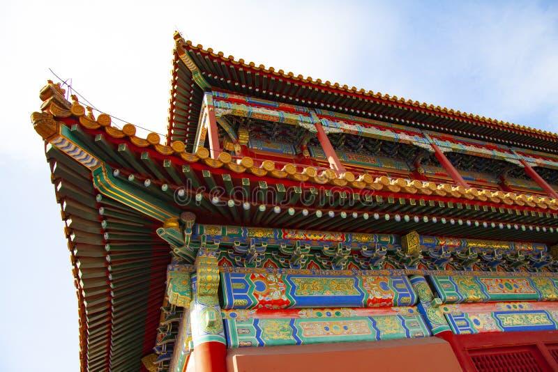 从紫禁城的印象深刻的五颜六色的精心制作的屋顶在北京,中国 屋顶、屋面材料和roofi的颜色 免版税库存图片