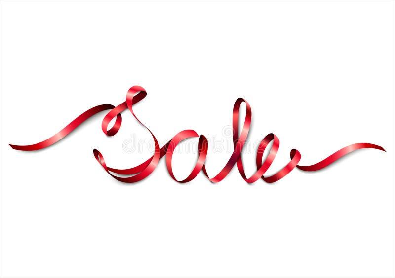 从红色丝带的词销售 向量例证