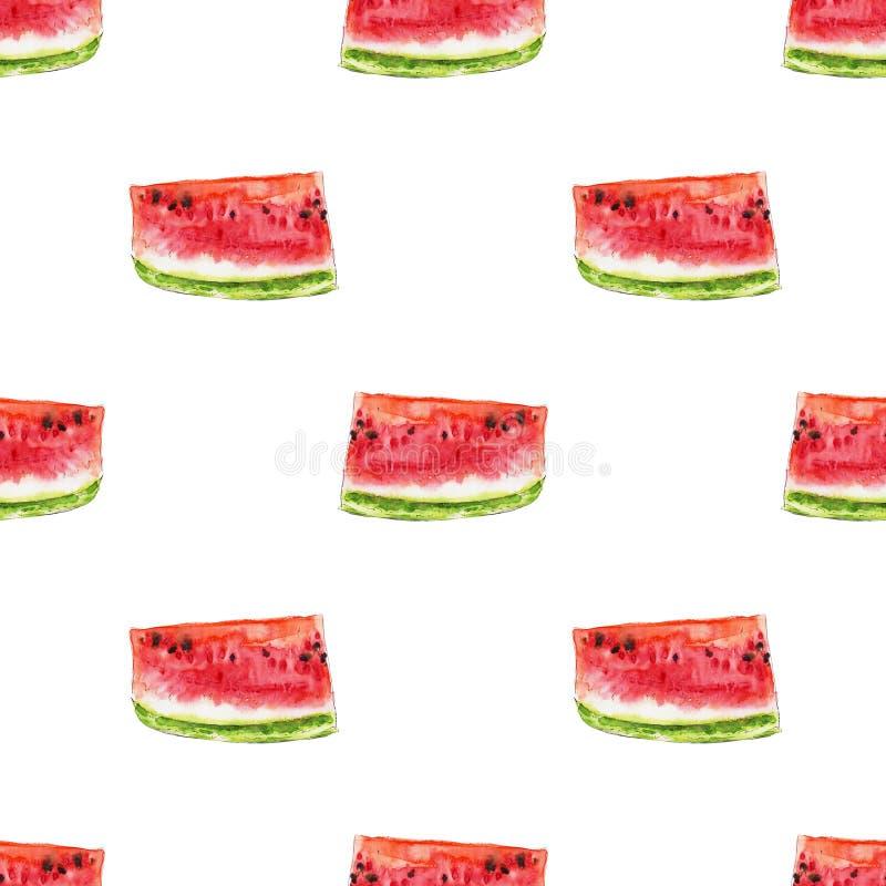 从红色水多的西瓜slicies的水彩无缝的样式 皇族释放例证