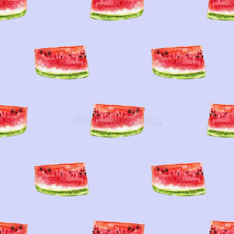 从红色水多的西瓜slicies的水彩无缝的样式 库存例证