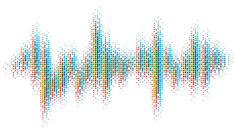 从红色,绿色,蓝色小点的多色的半音样式 心脏现代设计节奏  声波光谱,音频 向量例证