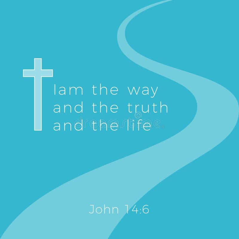 从约翰福音书的圣经的词组,我是方式和真相和 向量例证