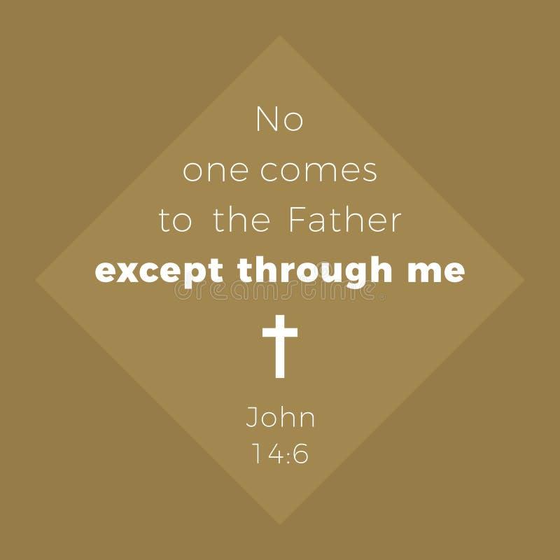 从约翰福音书,没人的圣经的词组来到父亲exc 皇族释放例证