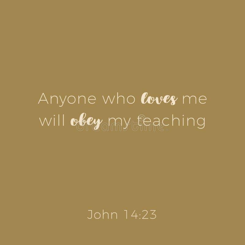 从约翰福音书,爱我的人的圣经的词组将ober 库存例证