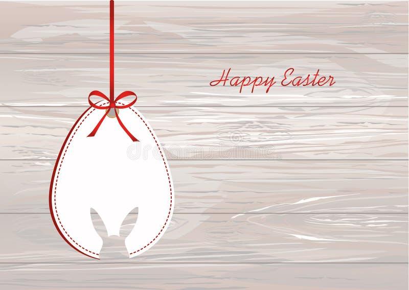 从纸吊的复活节彩蛋在有弓的一卷磁带上 贺卡o 向量例证