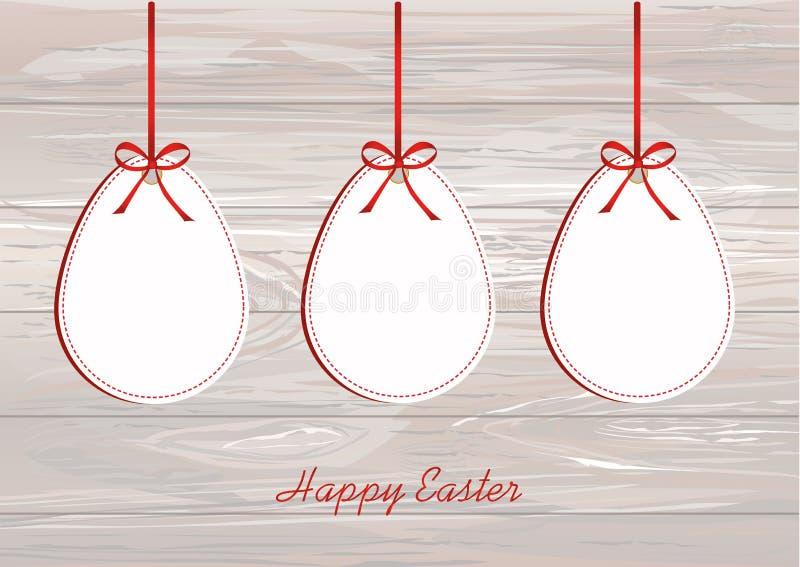 从纸吊的复活节彩蛋在有弓的一卷磁带上 贺卡o 库存例证