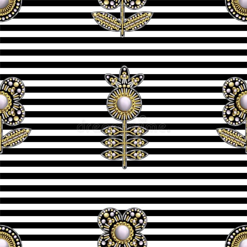 从纺织品的无缝的样式绣了与衣服饰物之小金属片、小珠和珍珠的补丁 也corel凹道例证向量 向量例证
