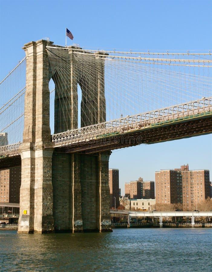 从纽约港口的布鲁克林大桥 免版税库存照片