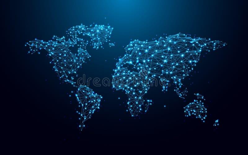 从线和三角,在蓝色背景的点连接的网络的世界地图 库存例证