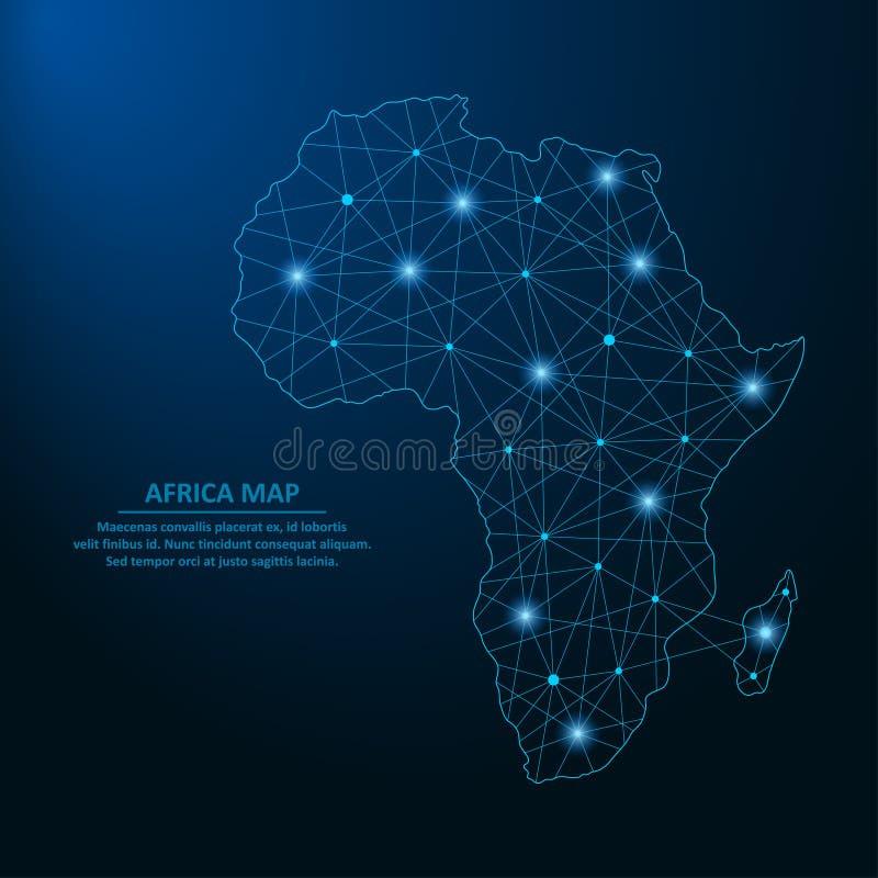从线和明亮的点创造的抽象非洲地图以满天星斗的天空的形式,多角形wireframe滤网和被连接的线 向量例证