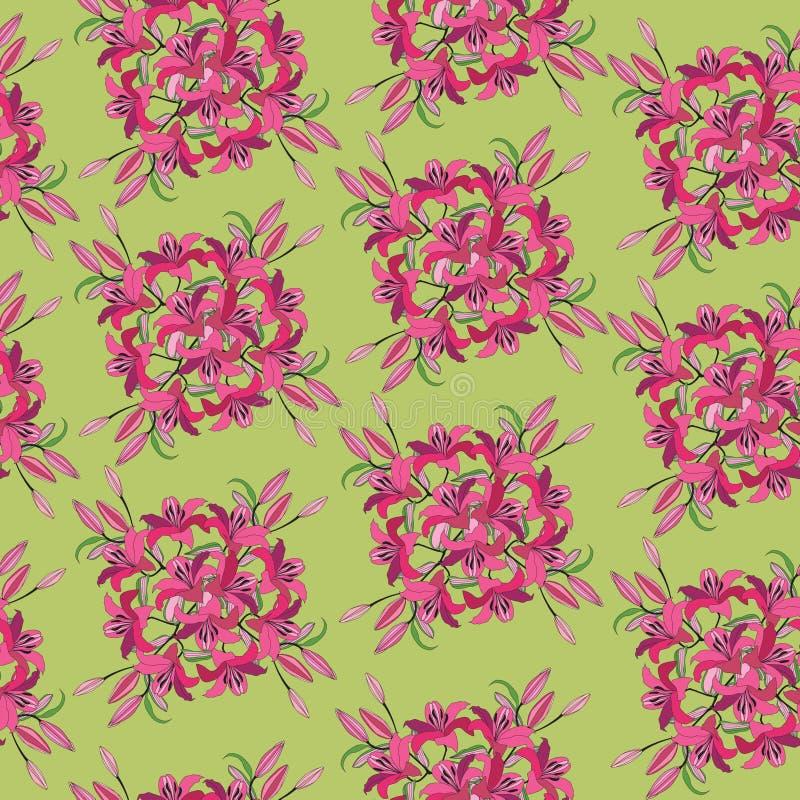 从绯红色花的无缝的模式 库存例证