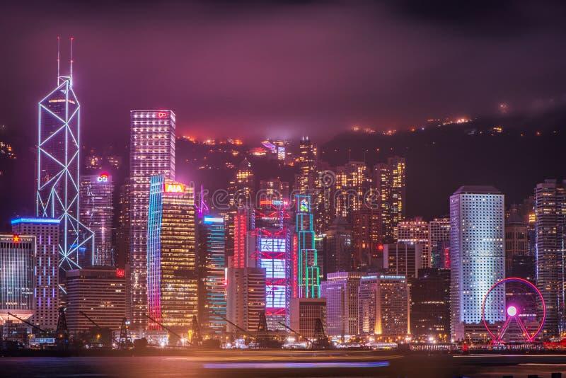从维多利亚港的香港,中国地平线 免版税图库摄影