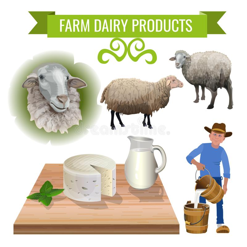 从绵羊的乳制品 向量例证
