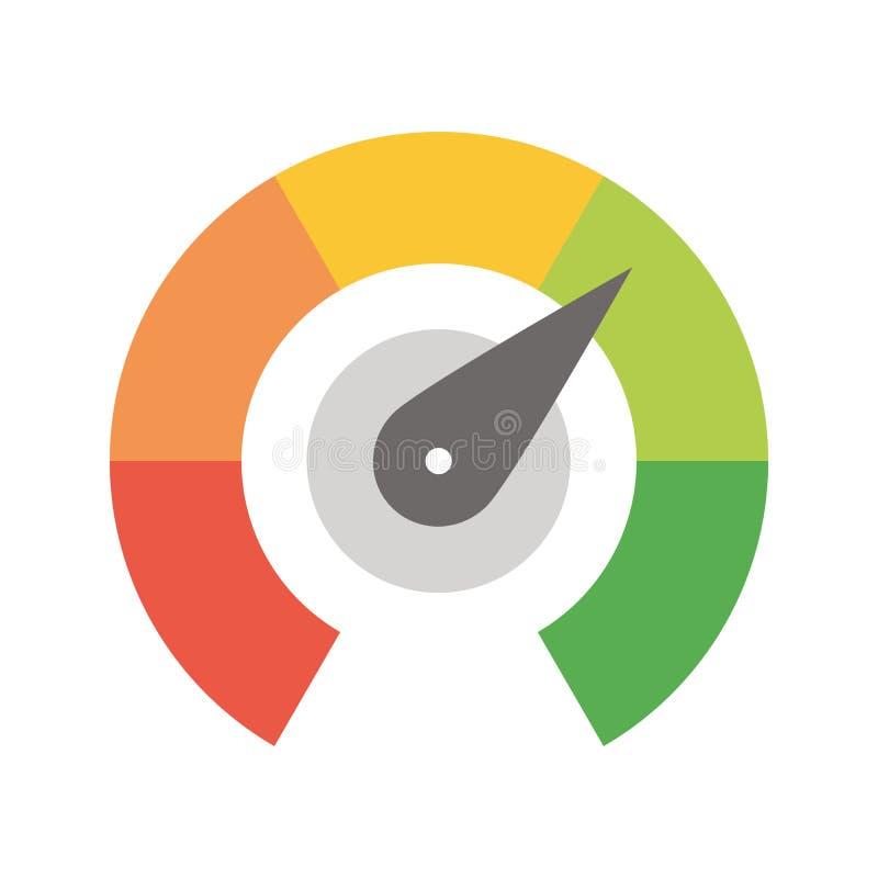从绿化的红色的辐形测量仪标度与箭头手尖 满意,温度,风险,规定值,表现和 向量例证