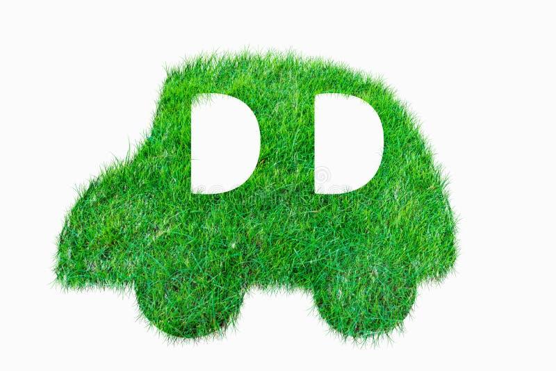 从绿草的汽车标志 库存例证