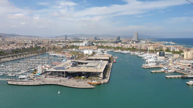 从缆索铁路的美好的巴塞罗那海视图 图库摄影