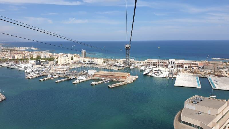 从缆索铁路的美好的巴塞罗那海视图 免版税库存照片