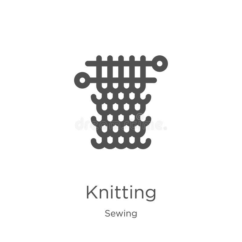 从缝合的收藏的编织的象传染媒介 稀薄的线编织的概述象传染媒介例证 概述,稀薄的线编织的象 库存例证