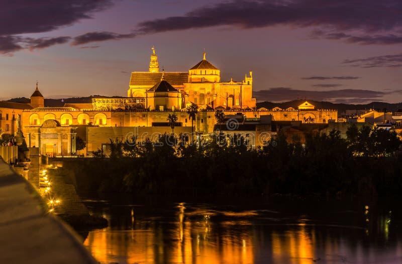 从罗马桥梁的晚上视图在清真寺大教堂在科多巴,西班牙 库存照片