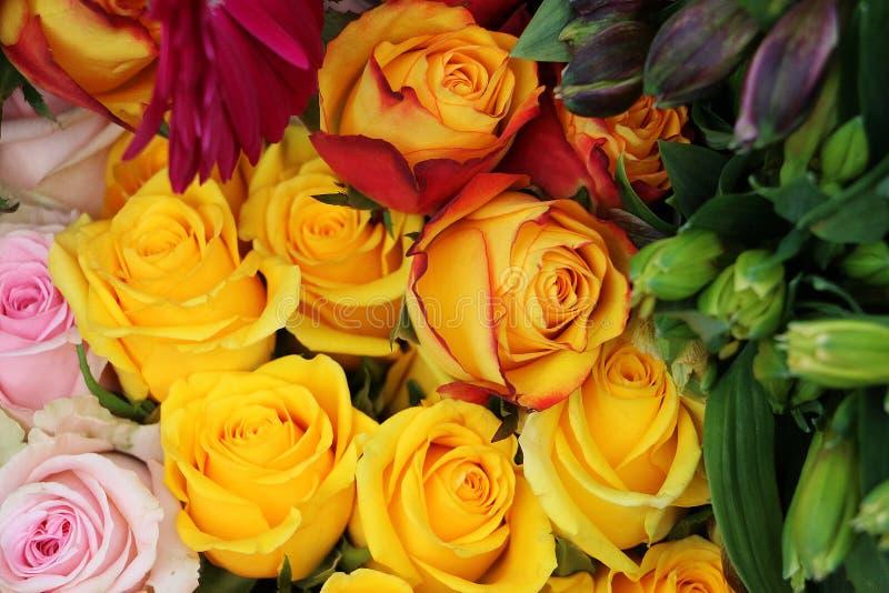 从美丽的五颜六色的玫瑰花束关闭  免版税库存图片