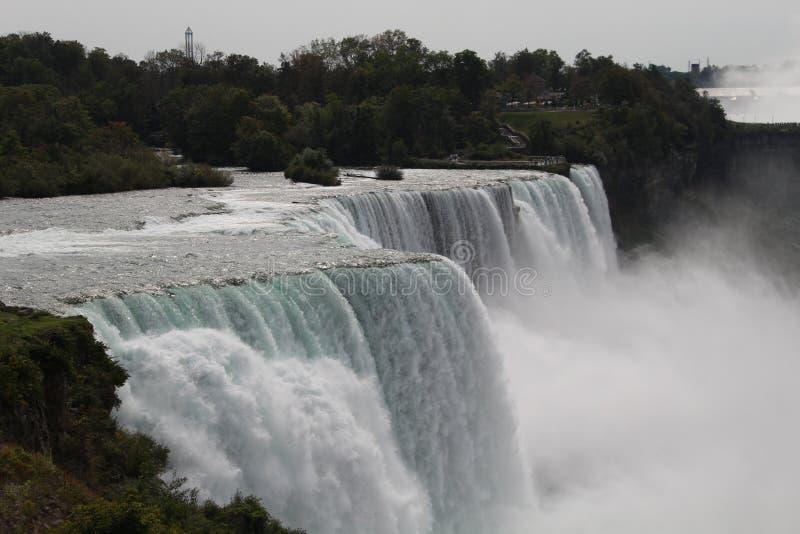 从美国的尼亚加拉大瀑布视图在天时间 免版税库存照片