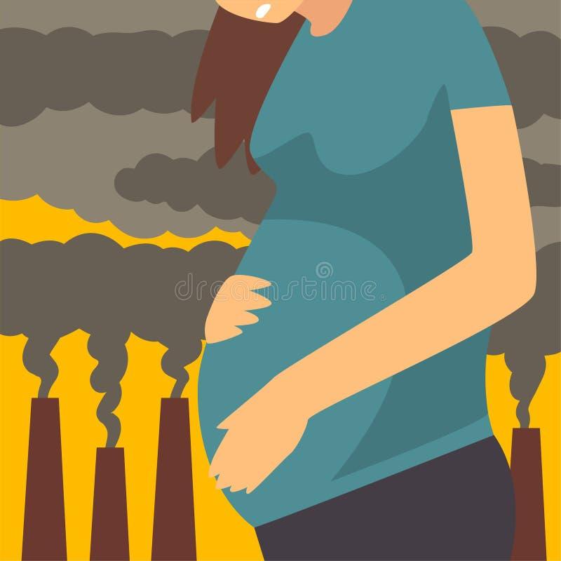 从美好的尘土、工业烟雾、妇女工业风景背景的和云彩的孕妇痛苦  库存例证
