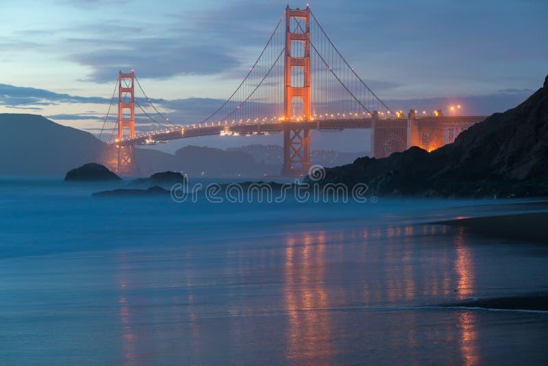 从美好的金黄平衡的光的风景贝克海滩看的著名金门大桥经典全景在日落 免版税库存照片