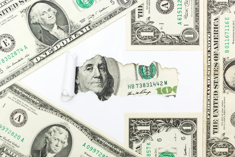 向成功和财富的道路 从美金的箭头在白色背景 收入、收入和工作 库存照片