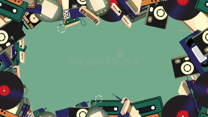 从老减速火箭的行家电子的框架,手机,电视,录音机,球员,卡型盒式录音机,录象机,比赛控制台,照相机 向量例证