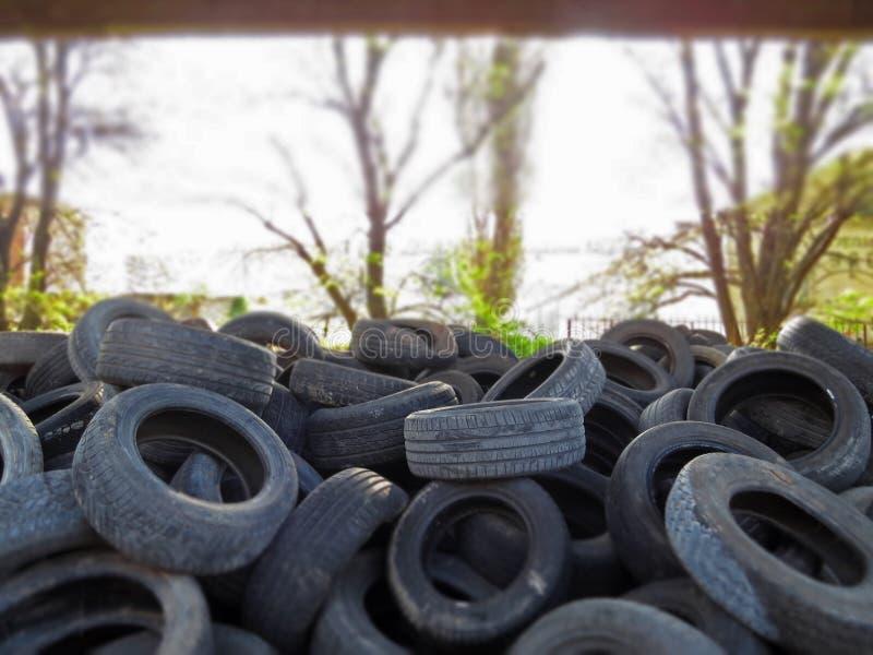 从老车胎的巨大的堆在一座桥梁下在瓦尔纳,保加利亚 污染所有  免版税库存图片