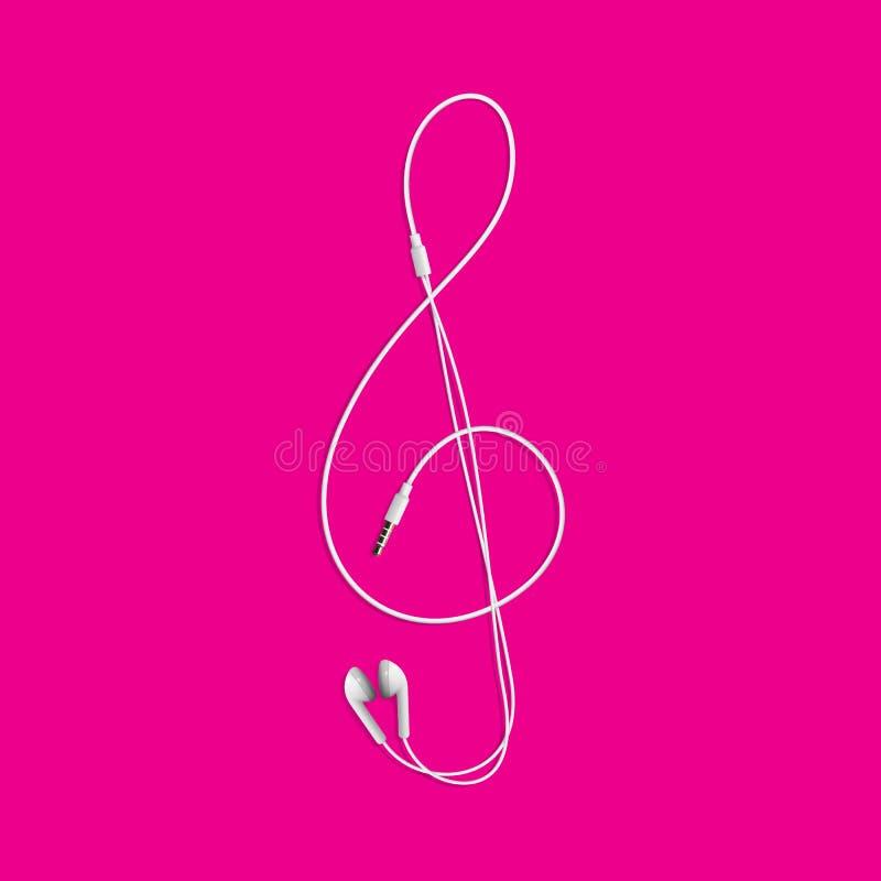 从耳机的高音谱号 查出的向量例证 向量例证