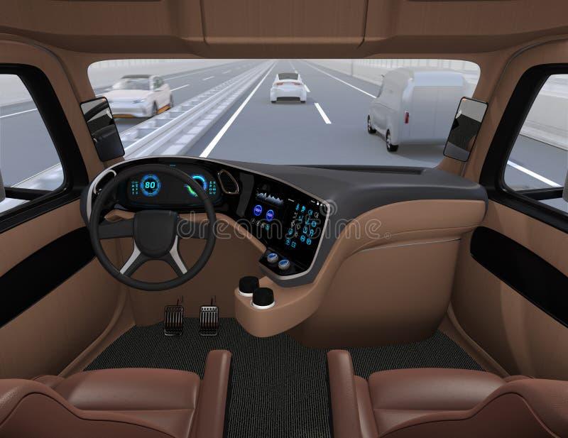 从自驾驶的卡车内部的看法在高速公路 皇族释放例证