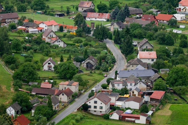 从航空的村庄或城镇 免版税库存照片