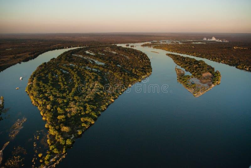 从航空的赞比西河 库存图片