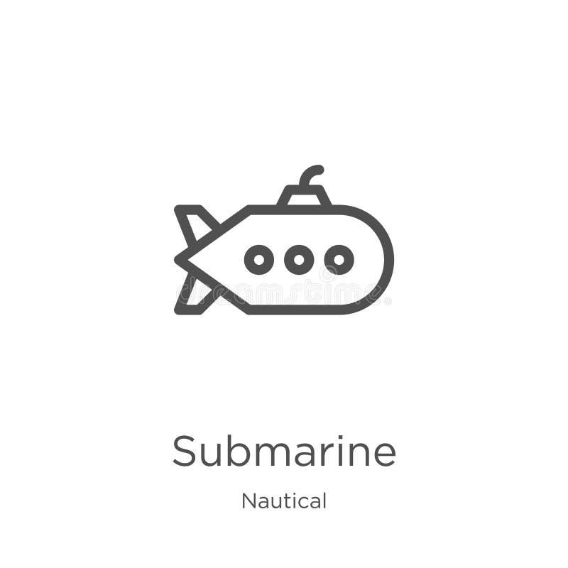 从船舶收藏的水下象传染媒介 稀薄的线水下概述象传染媒介例证 概述,稀薄的线潜水艇 向量例证