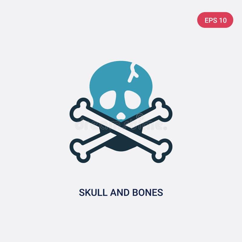 从船舶概念的两种颜色的头骨和骨头传染媒介象 被隔绝的蓝色头骨和骨头传染媒介标志标志可以是网的用途, 库存例证